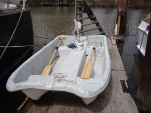 New dinghy with rotating motor mount installed.
