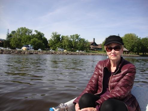 Vicki in dinghy on the Ottawa River - Montebello.