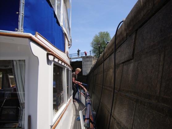 Vicki controls the bow on the Ottawa lock flight.