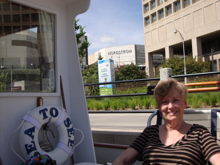 Vicki's choice for a mooring place on the Ottawa lock wall -- notice the sign in the background?