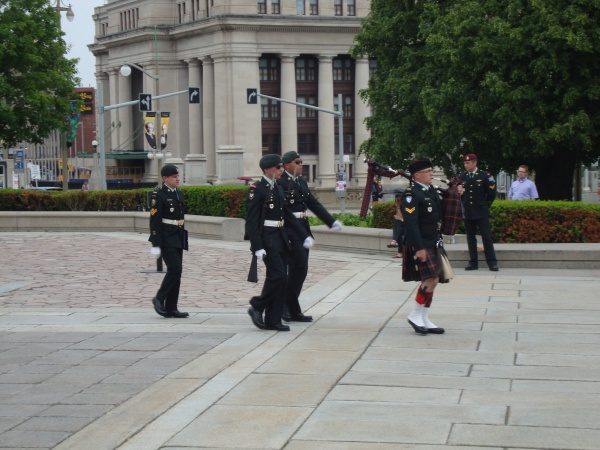 Changing of the Guards by Military Monument.