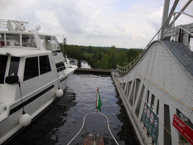 Kirkfield Lift Lock.  I wanted to be in the front of the lock but Vicki go her wish and we were toward the back.