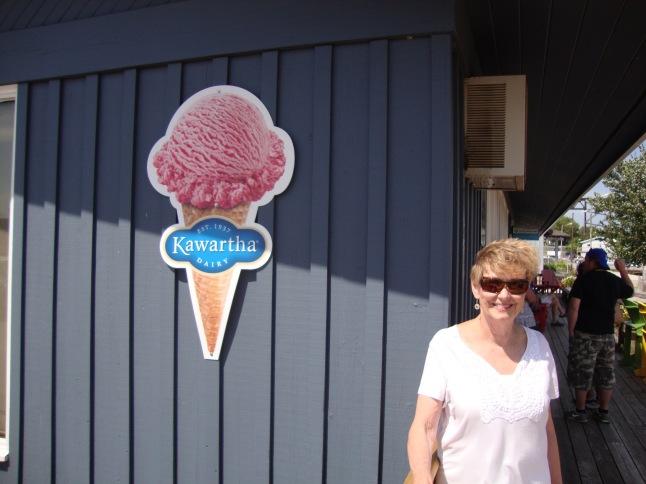 "Vicki enjoying after enjoying some Kawartha Ice Cream - ""Moosetracks"" was the flavor!"