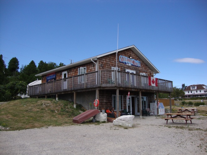 Meldrum Bay Marina.  This outpost is a 40 mile drive to the nearest grocery store.