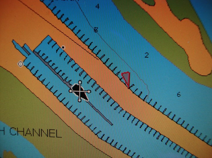 See the little red triangle to the right of our boat icon?  That is a boat with their AIS transmitter turned on.
