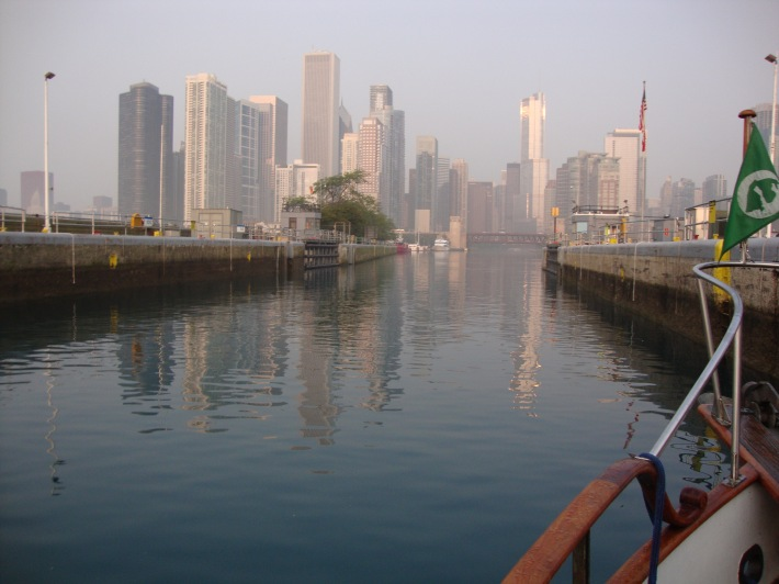 Leaving the Chicago Harbor Lock westbound and into the city.