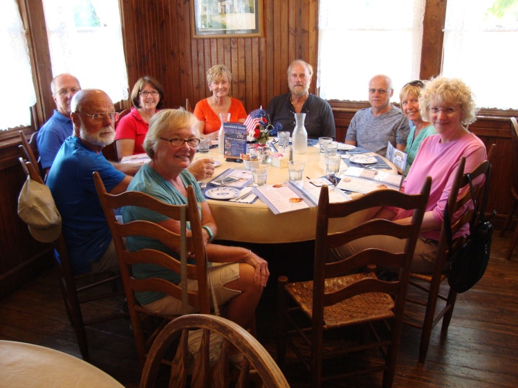 Crews of Namaste, Reunion, Sea To See, Gemini and Blue Haven eating at The Blue Owl