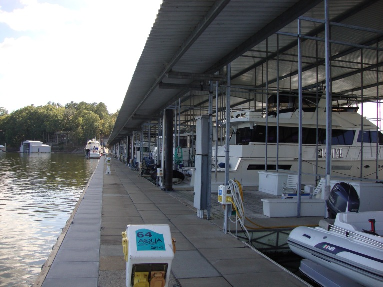 Aqua Yacht Harbor transient dock on the outside edge.  There are big boats in the central USA!  And big marinas!