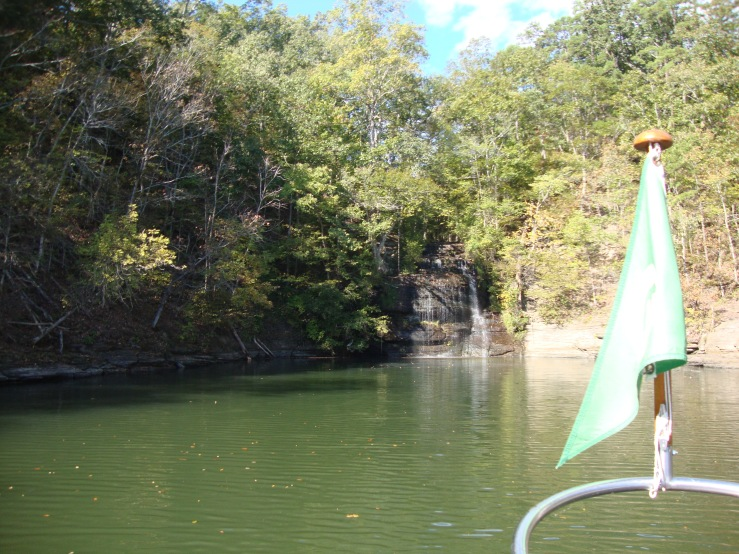 Nice little waterfall in a small bay off of Pickwick Lake.