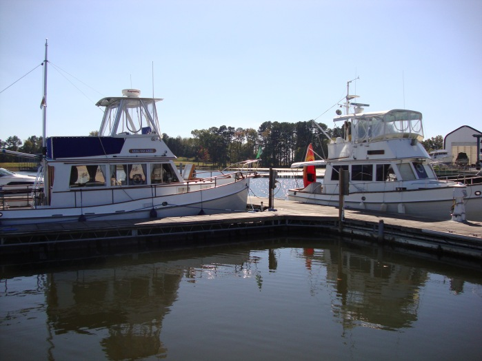 Another Grand Banks 32 (on the right) that has already done the Loop.  The owner was 84 YO.